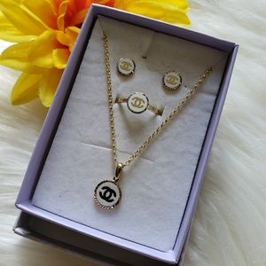 Jewelry - 18k Real Gold CC Enamel Necklace Set